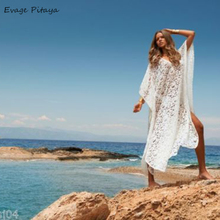 White Crochet lace Hollow-out Knitted Transparent Custom Tunic Irregular loose beach dress