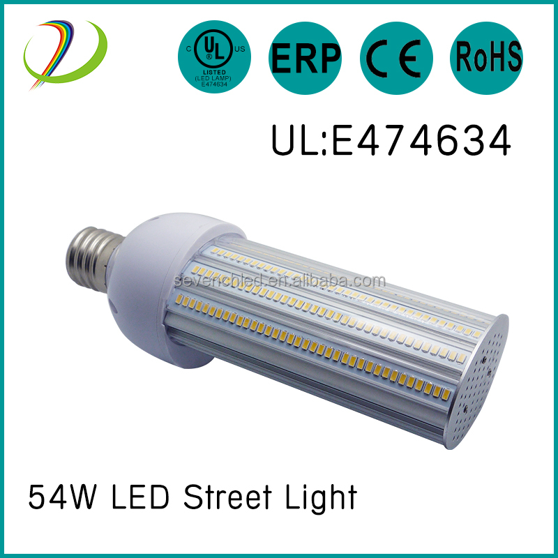High brightness wateproof 180 degree rotating base 27w/36w/45w/54w/60w smd led street light bulb e27
