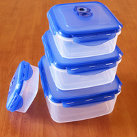 4 pcs High Quality Vacuum 3pcs Clear Square Super Seal Plastic Containers