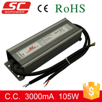 0-10v 105W 3000mA constant current dimmable waterproof electronic led driver