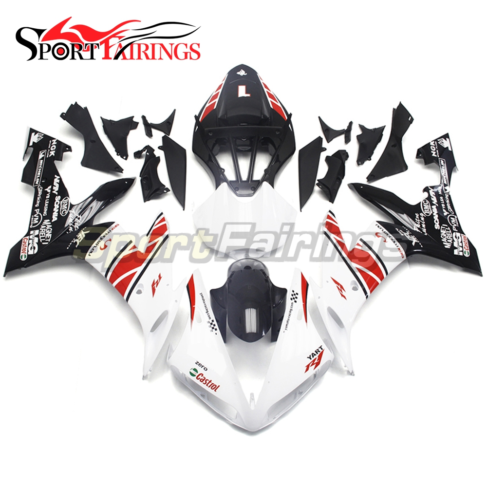 Full Fairings For Yamaha YZF <strong>R1</strong> 04 05 06 ABS Plastic Injection Motorcycle Fairing Kit Body Kits YART 1 White Black
