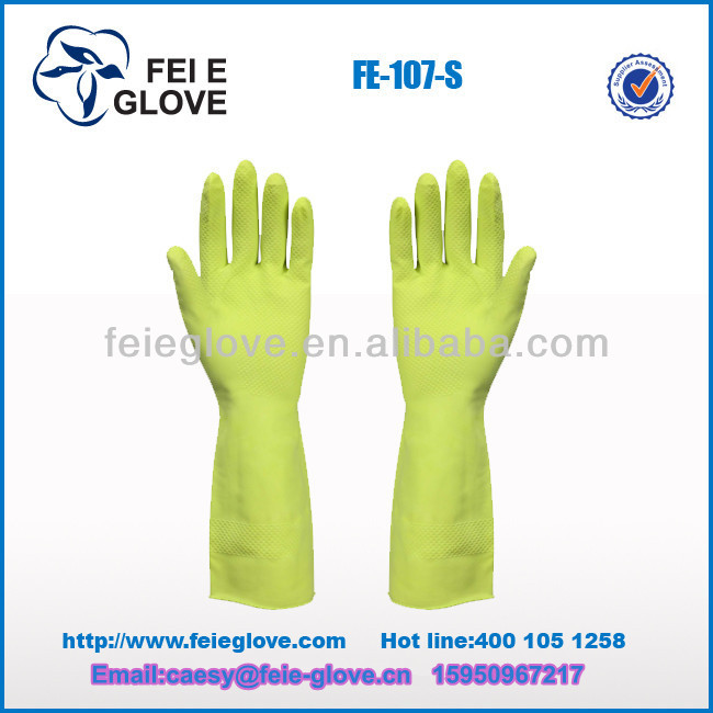70g spray- flock lined cleaning and washing latex gloves cheapest manufacturer
