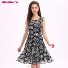 Newest Baroque Floral Printed Lace Dress For Elgant Women