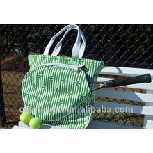 canvas sports Tennis Racket Tote Bag with ball holder