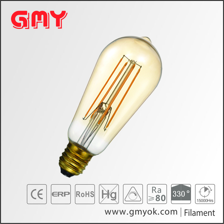e27 base long filament 4w ST58 2200k led bulb replacement for incandescent lamp