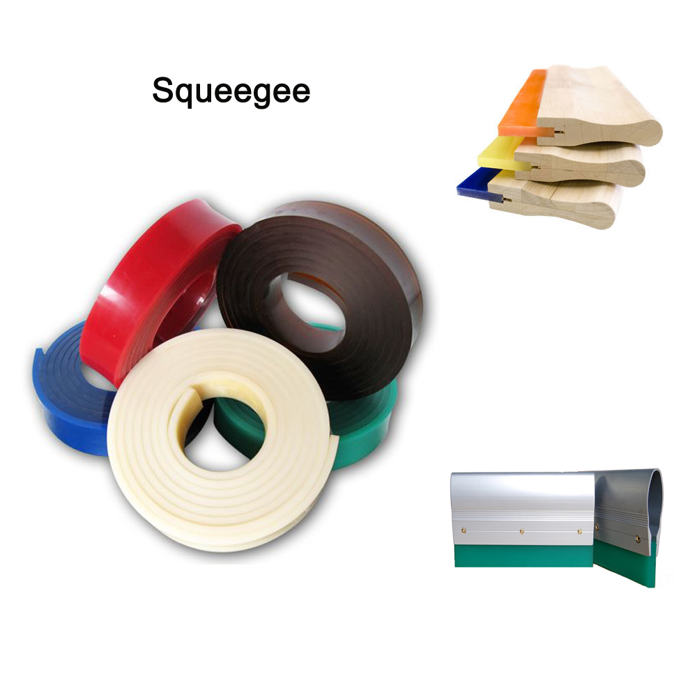 Rubber strips for screen printing squeegee