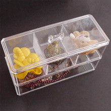acrylic 3 compartments small jewelry box drawer handles with lid