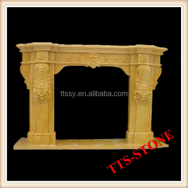 hand carved yellow flower marble fireplace
