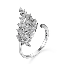 LY-28 White Gold Finger Ring Rings Design For Women With Price Ladies New Model Wedding Leaf Ring