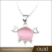 OUXI lovely cat shaped pink&white opal jewelry,sterling silver pendant Y30196