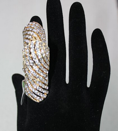Rhinestone Armor Jewelry Knuckle Hinged Adjustable Long Double Full Finger Ring