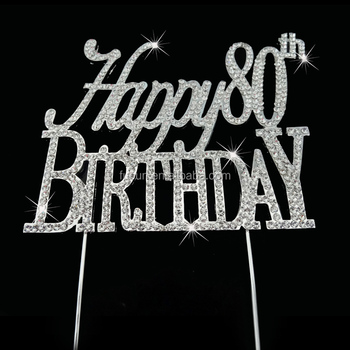 sparkle diamante rhinestone happy 40,50,60,80 birthday cupcake pick cake topper