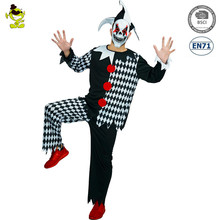deluxe carnival party outfits Adult Mens Scary Evil Jester Clown Dress Up professional clown Halloween Costume