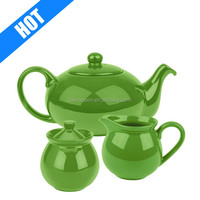 customized green color glazed apple shape teapot for sale
