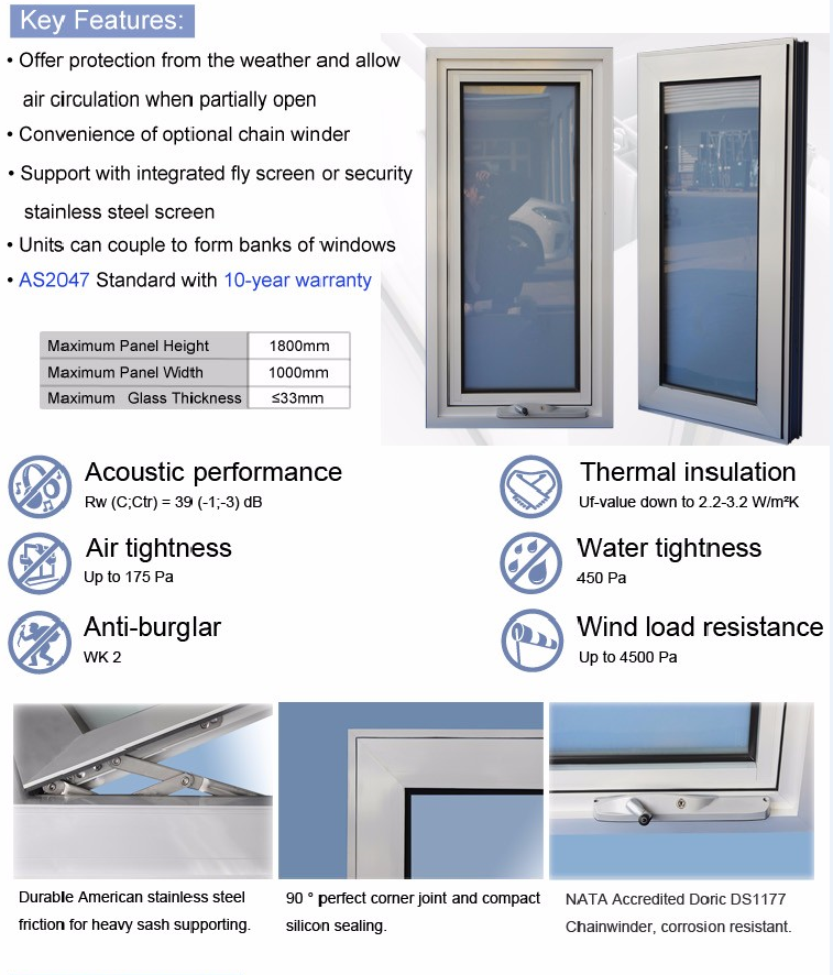 AS2047 standard aluminum windows with AS2208 double glazed aluminum awning chain winder windows