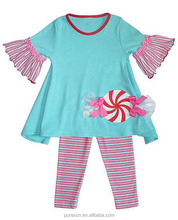 Adorable fall winter soft cotton blue and pink candy stripe todder girl clothes set