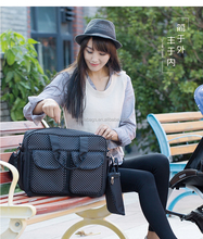 Wholesales black adult handbags diaper changing bag mummy baby bag