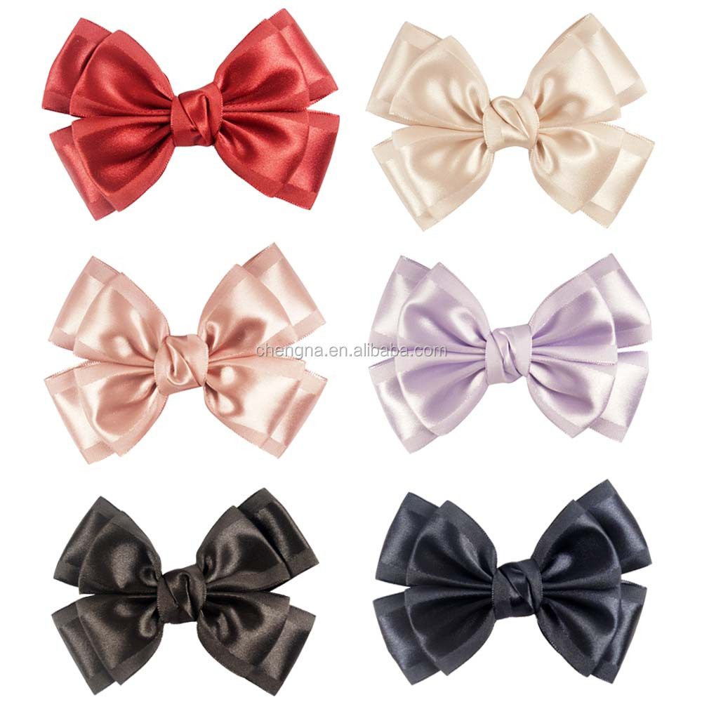 "Double Stacked Hair bow, Boutique Satin Hair bow, 4.5"" Girl Hair Bows with Clip HBW-16061508-6"