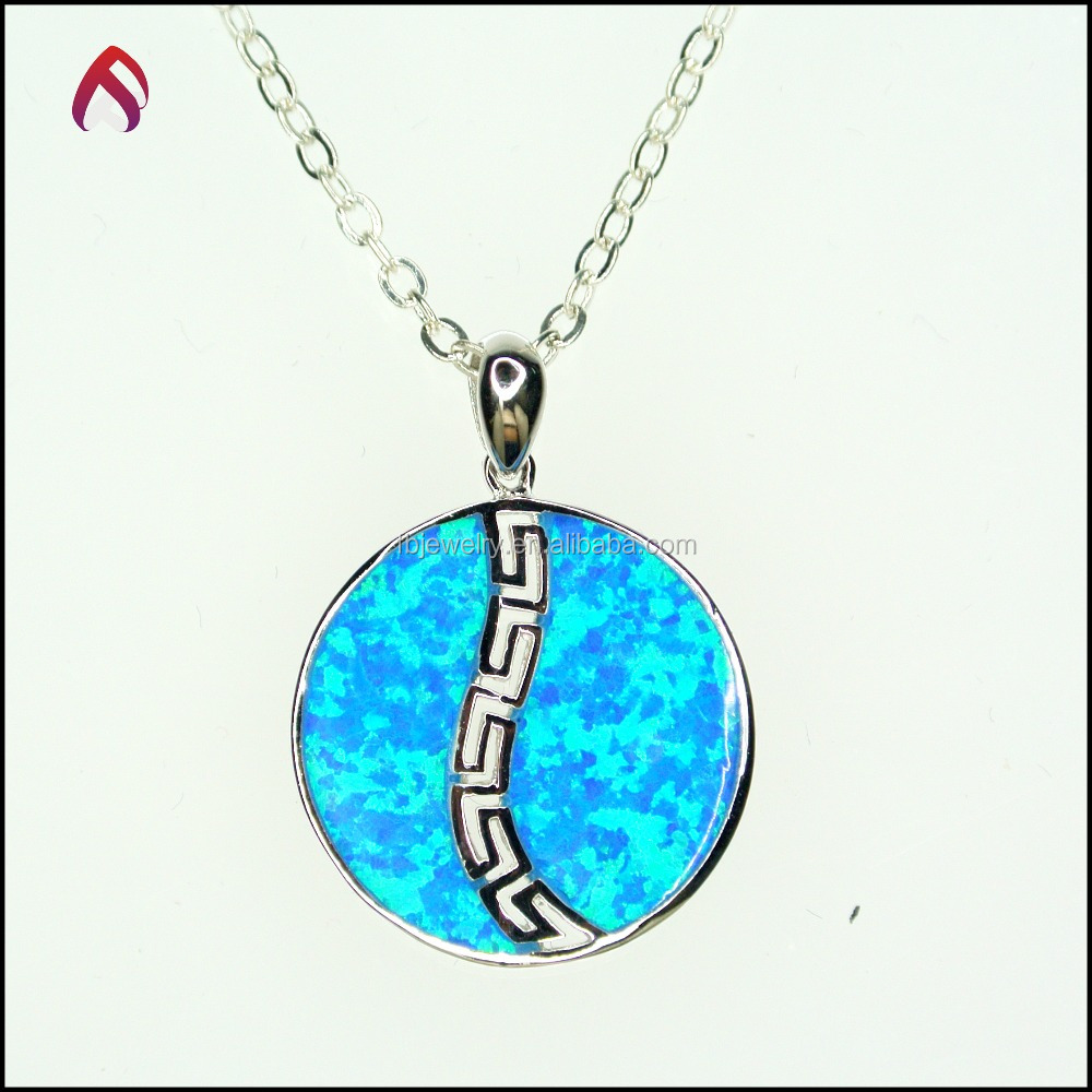 925 sterling silver pendants , fashion blue color opal inlay silver charms wholesale PD-83128