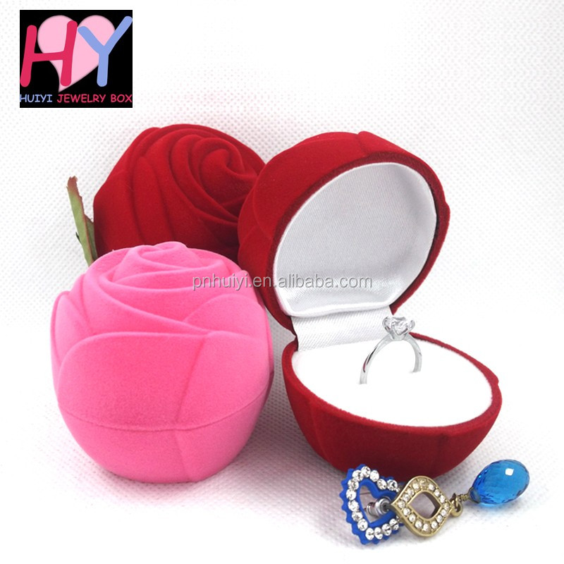 Wedding rose flower shaped earring ring velvet flocked jewelry box