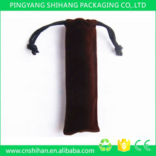 China wholesale custom black velvet pen gift bag