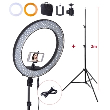18/'' 55w 5500k 240 leds selfie ring light dimmable led 180 degree turning for photography lightings