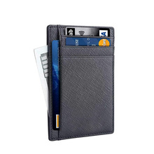 2020 Amazon Best Seller RTS Corporate Business Gifts Genuine Leather Pocket Men ID Slim Card Holder Thin <strong>Wallet</strong> Rfid