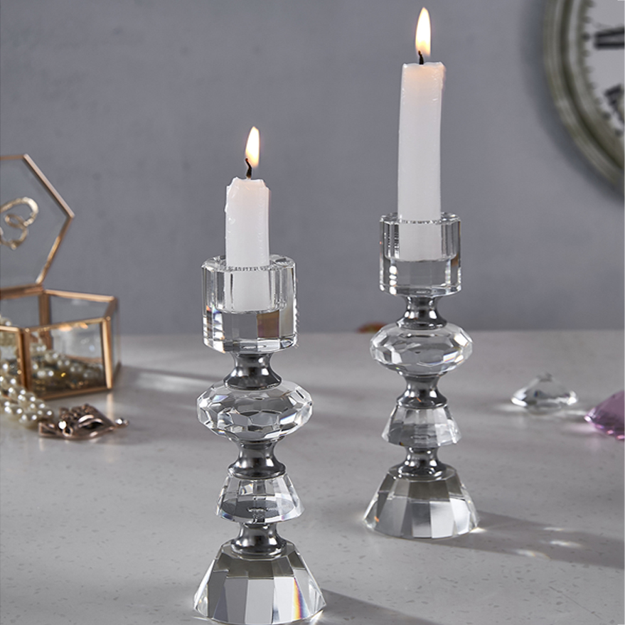 home goods tall crystal wedding candle holder