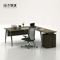 Melamine wooden L-shaped office freestanding table