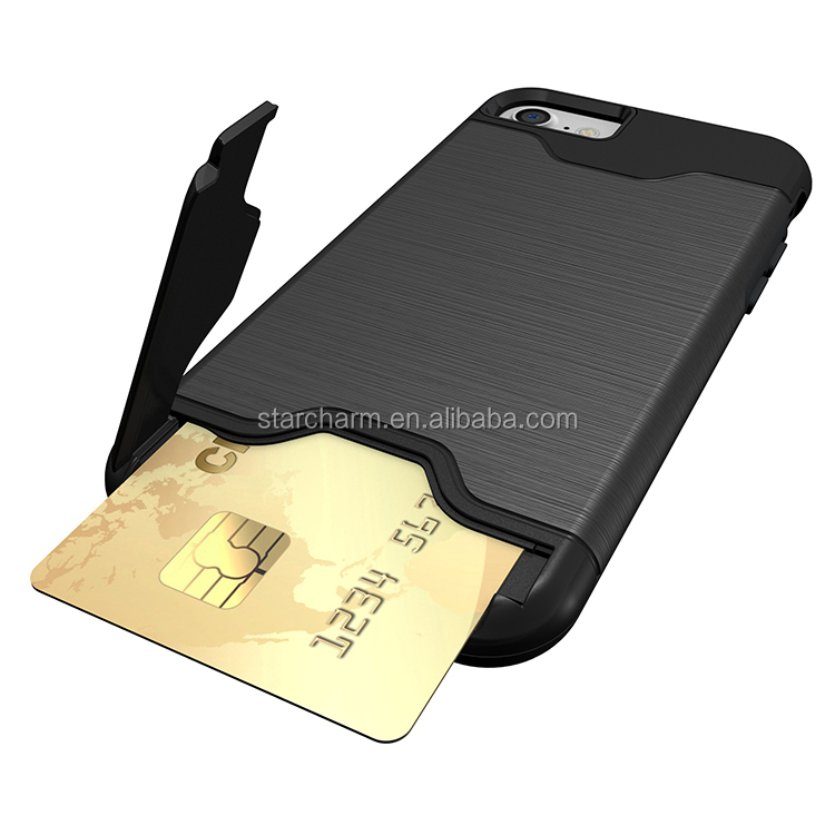 Hot Selling pc+tpu credit card holder wire drawing kickstand phone case for iphone 7 7 plus