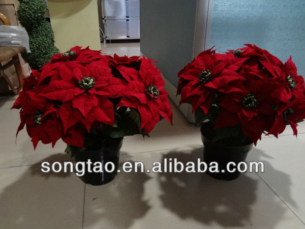 Wholesale artificial poinsettia flowers christmas for Cheap christmas decorations sale