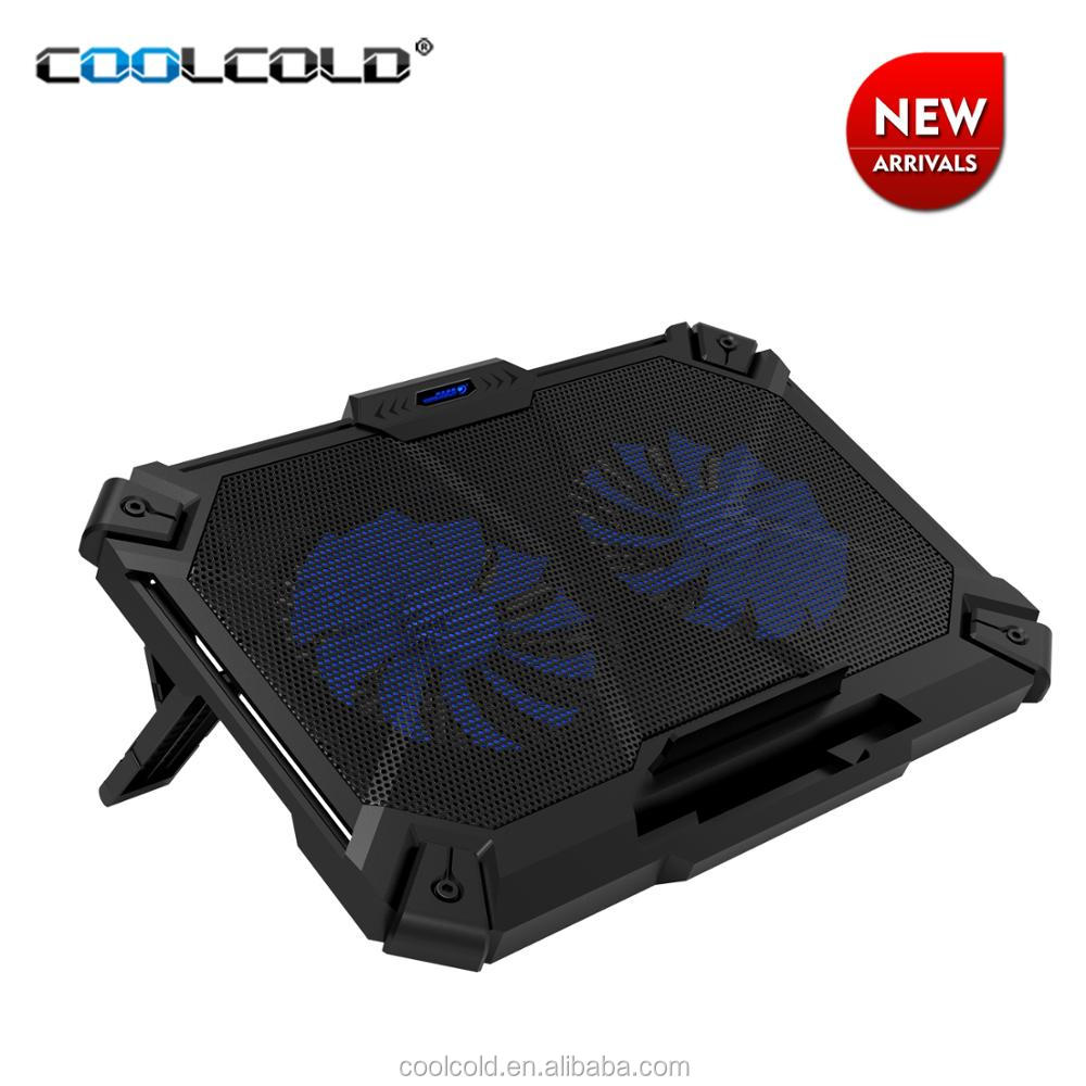 Coolcold new product heavy-duty laptop cooling pad double led cooling fan cooler for notebook