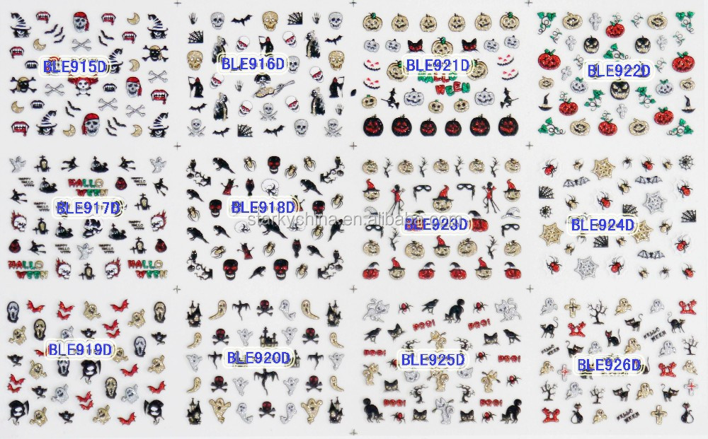 2016 New design nail stickers art halloween nail stickers