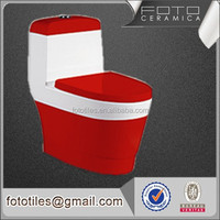 Ceramic Material Red Color Watermark One piece toilets and bathroom sets in china
