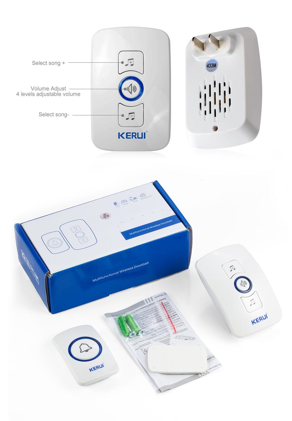 KERUI 2017 New Waterproof Multifunctional Wireless Doorbell with 32 Songs Support Multiple Doorbell Transmitter Welcome Chime_09