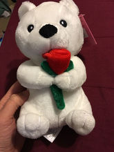 2017 white plush bear with red rose