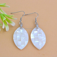 new leaf shape puau shell hoop earrings white abalone shell earrings allergy free stainless steel earrings