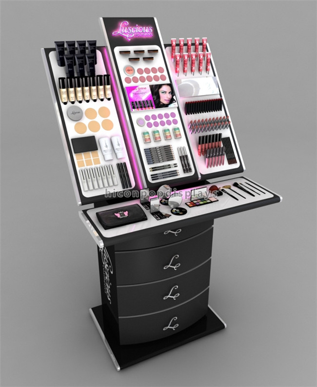 Flooring Black Wood Manicure Cosmetic Shop Equipment Wholesale Mac Cosmetics Retail Display Stands