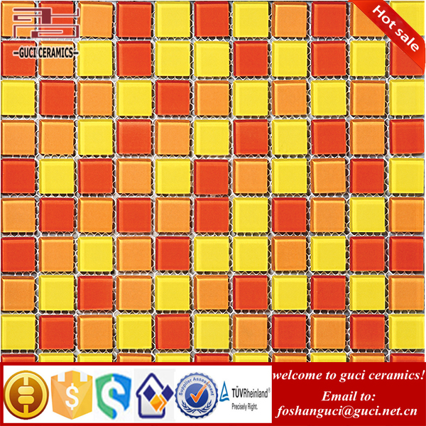 China factory mixed yellow crystal mosaic Glass Tiles for sale