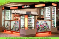 Glass store mobile phone display showcase kiosk design