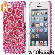 Dazzling Crystal Diamond Hard Back Case For iPhone 5C(Love Hearts)