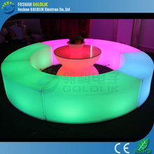 GKW-043BD led lighting furniture light up led bar table with glass top