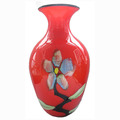 Red color flower theme glass vase