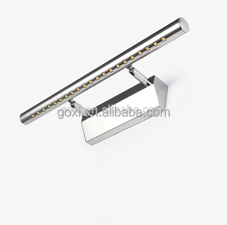 China wholesale touch sensor switch IP44 SMD5050 5w stainless steel bathroom mirror light lamp led