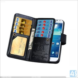 Luxury Crazy Horse Mobile Phone Wallet Leather Case for Samsung Galaxy S4