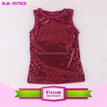 2015 wholesales! infant solid sequin cotton girls baby tank tops wholesale