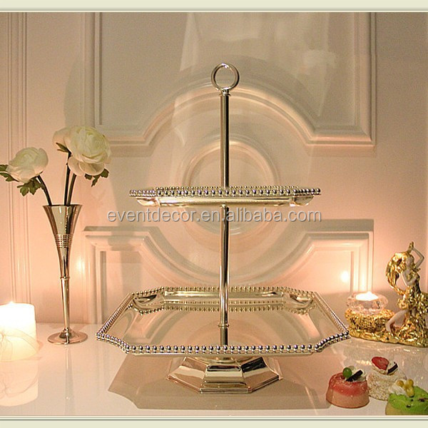 2 tiers silver beaded cake stand , octagonal shape stand for cake