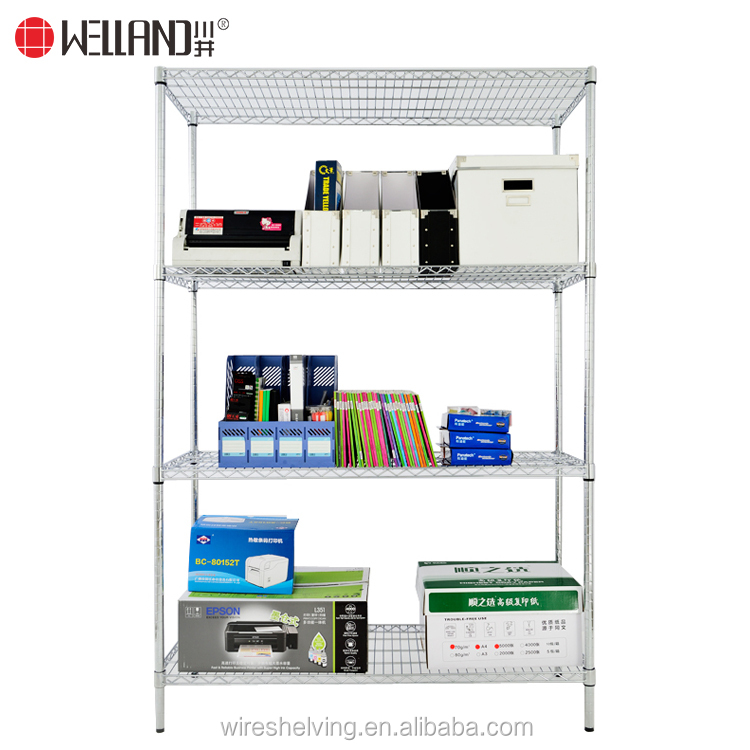 Wholesale 4 tiers DIY metal wire rack China suppliers chrome wire metal shelving for office storage