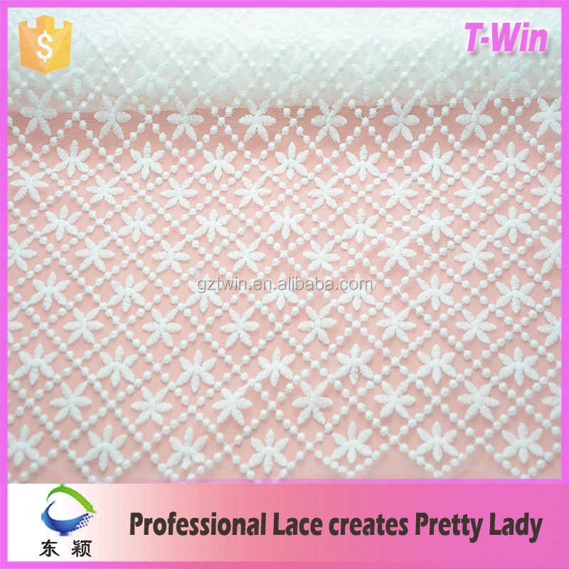 100 Polyester Micro Fiber lace Fabric For Garments white milk silk lace fabric for wedding dress