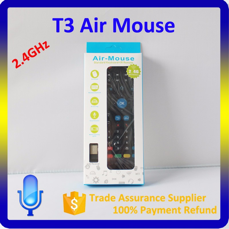 Mini T3 2.4G wireless keyboard Air Mouse bluetooth for smart tv box